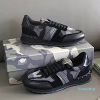 Designer-Stud RockRunner Toot Camouflage Entraîneurs Mesh Real Cuir Combo Rock Sneakers Sneakers Hommes Reflective Caoutchouc Semelle Chaussures Chaussures