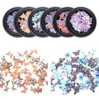 Gift Wrap #13D Butterfly Nail Art Stickers Adhesive Sliders Colorful Blue Flowers Transfer Decals Foils Wraps Decorations#1