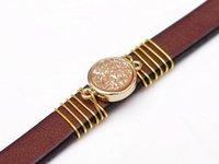 Tennis Natural Fashion Druzy Elegant Beige Gemstone Handcraft Leather Bracelet Cuff Wristband Bangle Men Women Brown