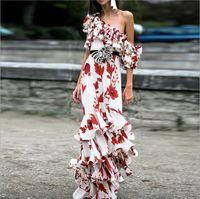 Estilo de moda Premium Top Quality Original Design Mulheres Maxi Vestido Senhoras Sexy Elegante Impressão Slash Pescoço Ruffle Vestidos