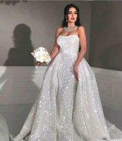 Glitter Mermaid Stijl Arabische Trouwjurken met afneembare Trein Strapless Sweetheart Full Pailletten Plus Size Overskirt Country Bridal Town