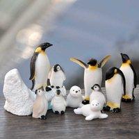 BAIUFOR 1SET PENGUIN PENGUIN Modelo de sello, figuras de invierno paisaje, estatuilla en miniatura juguete para niños regalo de cumpleaños decoración del hogar