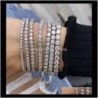 Other Jewelryhandmade 925 Sier 4-8Mm Round Moissanite Diamond Bracelets For Women Men Luxury Engagement Wedding Topaz Gemstone Jewelry 18Cm D