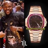 Eternity Hip Hop Watches RFFS personalizzato versione 5711 Cal.324 S C Automatic ICED OUT T Diamanti Rubino Inlay Inlay Rose Gold Gettine Black Texture Dial Dial Guarda orologio SS Bracciale in acciaio