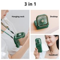 Hanging Neck Fan Mini Portable Folding USB Small Mute Power Bank Handheld Desktop Multi Function Charge Electric Fans