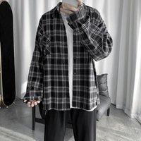 Men's Casual Shirts Net Ins High-grade Shirt Korean Fashion Ruffian Handsome Long Sleeved Plaid With Coat Imported-china Modis