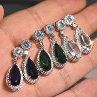 Cubic Zirconia Dangle Water Drop Earrings Diamond Women Ear Rings Wedding Fashion Jewelry