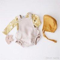 INS Newest Designer Baby Baby Girl Boy Romper Clothes Solid Yellow Blue Button Summer Linen Newborn Belt Jumpsuit Newborn Romper Onesies