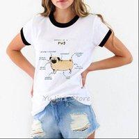 Anatomy of the pug dog Womens T Shirts animal print graphic tee femme harajuku kawaii clothes white streetwear tops