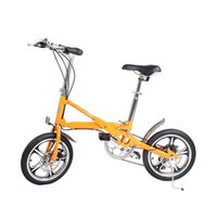 16-inch folding bicycle aluminum alloy 7 speed bike Double disc brake adult bicycle light and easy to carry folding bicycle Orange