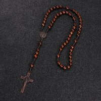 Komi Christ Jesus Wooden Beads 8mm Rosario Bead Cross Pendant Tessuto Corda Collana Catena Catena Collana Religioso Ortodosso Gioielli preghiera R-192
