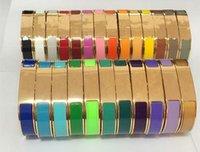 Rosa oro plata h letra brazalete amor pulsera de alta calidad moda mujeres hombres esmalte pulseras joyería brazaletes de acero inoxidable