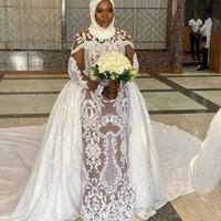 Gorgeous Sheer Mesh Top Lace Mermaid Wedding Dresses 2021 Beaded Crystals Long Sleeves Bridal Gown with Detachable Train