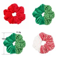 Christmas Hair Accessory Tie For Girl Woman Elastic Sequin Red Green Hairband Ring Rope Stretchy Scrunchy Boutique