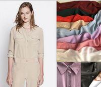 Slim Signature 100% Silk Shirt Women Blouse Style Spring Autumn Long Sleeve Classic 2 Pockets Design Female Shirts Women's Blouses &