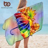 Beddingoutlet Ombrella Embry de salle de bain Serviettes Aquarelle Serviette d'automne Feuilles Microfibre Bain pour adultes Rainbow Toalla 1PC