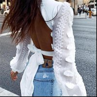 Summer Lace Puff Sleeve Bandage Women Shirt Mesh Tops Crops Deep V Neck Sexy Blouse Backless Bowknot Female Blusas Clothing