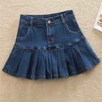Denim Skirt With Ruffles 6XL 7XL Harajuku Y2K Jeans Skater Woman High Waist Bottom Female Casual Pleated Micro Mini Short Jurken