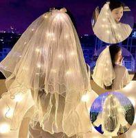 60 cm LED LED Wedding Veil Della Spalla Lunghezza Perle Perle Bianche Bridal Veils Bambini Principessa Copricapo con lampada Lampada Luci Mantilla Filato Perline Decor Nastro Bow G65ECM0