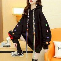 Women's Hoodies Autumn Winter Plus Velvet Thickening Fashion All-match Loose Large Version Design Sense Niche Jacket 211023