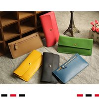 Thin Wallet New 2021 Ladies Long Wallet Leather Leather Student Korean Buckle Ultra-thin Wallet Women Gqtuc