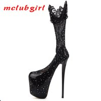 Mclubgirl Style Color Matching Low Top Sexy Fake Girl Water Drill Super High Thin Heel Sexy Super Size Women's Shoes MJL 210507