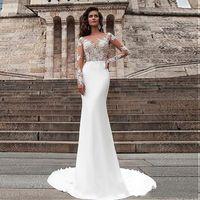 Wonderful Satin See Through Bateau Neckline Mermaid Wedding Dresses Applique Lace Long Sleeves Sheath Bridal Dress vestidos de formatura