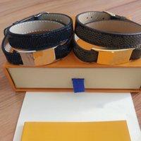 Bracelet de courroie double boucle PU de haute qualité Bracelet unisexe Bracelet en acier de titane Bracelet de mode de mode bijoux de mode