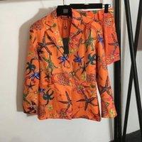 2021 kadın iki parçalı pantolon yaka boyun kısa kollu baskı ceket ve şort markası aynı stil 2 parça setleri 0605-2