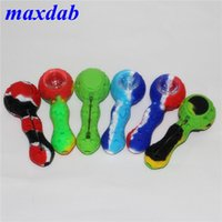 tobacco Oil Burner Pipe Colored Silicone smoking Hand Pipes with dabber tool wax container