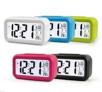 Plastic Mute Alarm Clock LCD Smart Temperature Cute Photosensitive Bedside Digital Alarms Clocks Snooze Nightlight Calendar SN4072