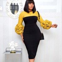 Casual Dresses Elegant 3 4 Puff Sleeve Slim Bodycon Split Office Ladies Pencil African Clothes Plus Size Midi Women Party Dress Work Wear