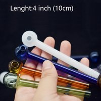 Mix random color 4inch glass oil burner pipe Hand Smoking Pipe 10cm small Thick Pyrex Heady Glass oil nail Pipe for smoking
