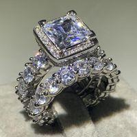 Boyutu 5-12 Sıcak Satmak Lüks Takı Shinning 925 Ayar Gümüş Prenses Kesim Beyaz 5A Kübik Zirkon Kadınlar Düğün Gelin Yüzük Seti
