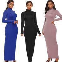 Long Mouwen Bodycon Plus Size Jurk 2020 Retrieve Winter Women Casual Package Hip Coltrui Elastic Ladies Vestido Black Blue