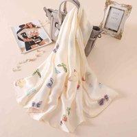 Color mariposa pura protector solar aire acondicionado chal verano nuevo satén blanco impresión bufandas