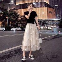 Tileewon Plus Tamaño Vestido de mujer Set Sweet Style Damas Dos piezas Top + Vestido 2021 Verano Saling Coreano Conjuntos de juego 3XL