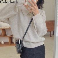 Colorfaithith 2020 новая осень зима женщин свитера воротника пуловеры пуловеры вязаные корейский элегантный дикие дамы топы SW182081