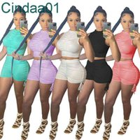 Women Tracksuits Two Pieces Set Designer Slim Sexy Summer Outfits Leisure Solid Colour Sleeveless Pleated Short Sports Suits Sportwear