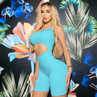 CarlyNyla Women Hollow Out Solid One Shoulder Romper Elastic High Sleeveless Playsuit Activewear Casual Streetwear Female Outfit Women's Jum