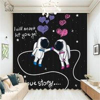 Curtain & Drapes Galaxy Explore Astronaut Space Discovery Curtains For Living Room French Window Bedroom Cartoon Kitchen Home