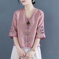 Ethnic Clothing Chinese Style Women Summer 2021 Cheongsam Top Traditional Shirt Blouse Cotton Hanfu Ladies Tops 30884