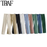 Calças femininas capris traf mulheres chique moda escritório desgaste reto vintage alta cintura zíper feminino calças mujer