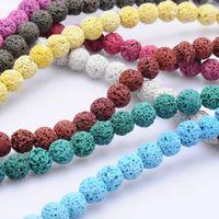 Perle Volcaniche in pietra naturale Perle colorate Black Round Rock Lava Branelli sciolti 8mm per la collana fai da te Bracciale gioielli