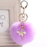 10Pieces Lot Cute Rhinestone Little Angel Car keychain fake Fur Key Chain Women Trinket Car bag Key Ring Jewelry Gift fluff keychains