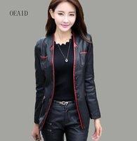 Talla grande 3xl 4xl chaqueta de cuero mujeres blazers primavera trajes de mujer ropa exterior de la ropa exterior de las damas delgado chaquetas abrigos negro