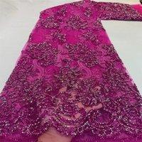 Última tela de encaje de tul nigerianos Bordado de alta calidad con cuentas African Net Laces Lentejuelas francesas FabricsPeal Hecho a mano para vestido de fiesta de noche