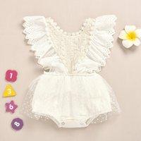 Retail wholesale baby girls White lace mesh romper dress newborn infant kids princess one-piece onesies Jumpsuit children design clothes