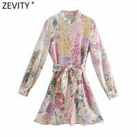 Zevity Femmes élégant rose fleur imprimé poitrine chemise torriste femelle manches longues arc en caille vestido chic une ligne mini robes DS8173 210401