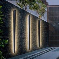Moderno impermeable LED Lámpara de pared larga tira de pared al aire libre IP65 Aluminio Porche Garden Sconce Villa Dormitorio 110 / 220V Lámparas de luminarias de luz